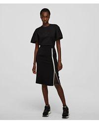 Karl Lagerfeld Cady Skirt With Mesh Insert - Black