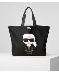 Karl Lagerfeld K/ikonik Canvas Tote Bag - Black