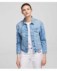 Karl Lagerfeld Orchid Print Denim Jacket - Blue