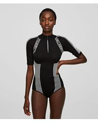 Karl Lagerfeld High-neck Bodysuit With Logo Tape - Black