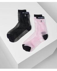 Karl Lagerfeld K/ikonik Glitter Socks 2-pack - Pink