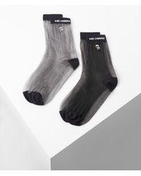 Karl Lagerfeld K/ikonik Sheer Socks 2-pack - Black