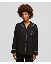 Karl Lagerfeld Long-sleeved Pipe-lined Pajama Shirt - Black