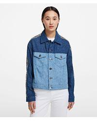Karl Lagerfeld Logo Tape Denim Jacket - Blue