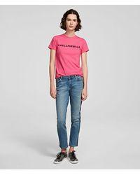 Karl Lagerfeld Logo-tape Girlfriend Jeans - Blue