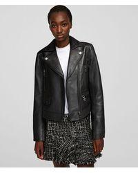 Karl Lagerfeld Leather Biker Jacket - Black