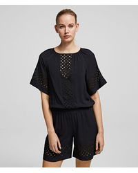Karl Lagerfeld Embroidered Playsuit - Black