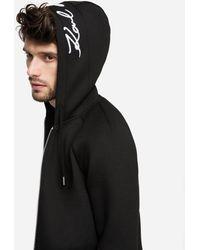 Karl Lagerfeld Signature Neoprene Zip-up Hoodie - Black