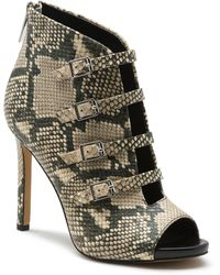 Karl Lagerfeld Cardi Snakeskin Multi Strap Heel - Black