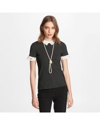 Karl Lagerfeld Knit Top With Lace Collar - Black