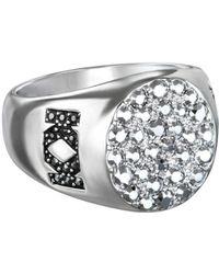 Karl Lagerfeld - Large Metallic Signet Ring With Swarovski Crystals - Lyst