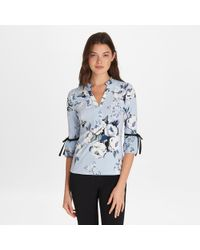 Karl Lagerfeld Three Quarter Sleeve Printed Ruffle Top - Blue