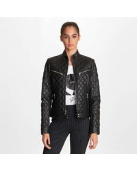 Karl Lagerfeld Quilted Moto Leather Jacket - Black