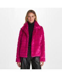 Karl Lagerfeld Tiered Faux Fur Jacket - Pink