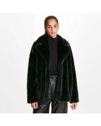 Karl Lagerfeld Luxe Cozy Faux Fur Jacket - Green