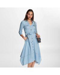 Karl Lagerfeld Denim Button Up Midi Dress - Blue