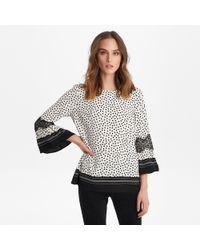 Karl Lagerfeld Polka Dot Lace Bell Sleeve Top - Black