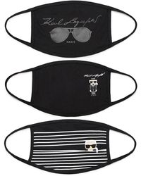 Karl Lagerfeld 3 Pack Reversible Face Masks - Black