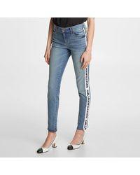 Karl Lagerfeld Denim Pant With Logo Taping - Blue