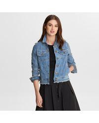 Karl Lagerfeld Denim Jacket With Fringe - Blue