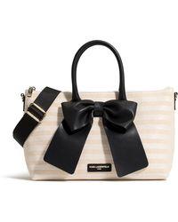 Karl Lagerfeld Kris Stripe Weave Raffia Bow Tote - Black