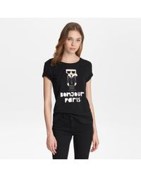 Karl Lagerfeld Bonjour Paris Doll Tee - Black