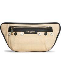 Karl Lagerfeld Tess Straw Belt Bag - Black