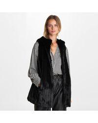 Karl Lagerfeld Faux Fur Hooded Vest - Black