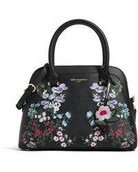 Karl Lagerfeld Penelope Saffiano Embroidery Satchel - Black