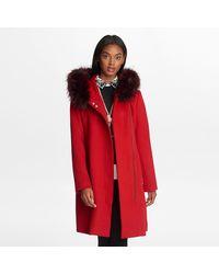 Karl Lagerfeld - Fur Strip Hooded Wrap Coat - Lyst