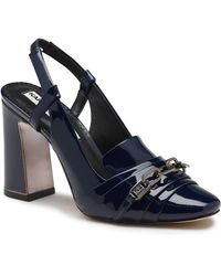 Karl Lagerfeld Georgie Kid Patent Leather Pump - Blue