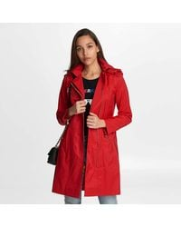 Karl Lagerfeld Asymmetrical Double Lapel Belted Trench - Red