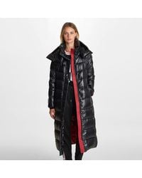 Karl Lagerfeld Contrast Maxi Belted Long Puffer - Black