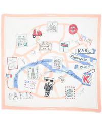 Karl Lagerfeld Paris Map Print Square Scarf - Multicolor