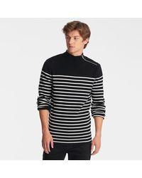 Karl Lagerfeld Striped Mock Neck Sweater - Black