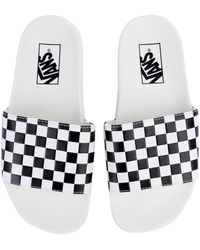 f2c41d4790a Vans - The Women s Checkerboard Slide-on In White And Black - Lyst