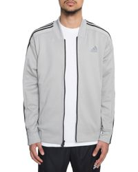 adidas - The Id Snap Track Bomber In Marled Heather Grey - Lyst