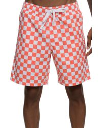 Vans Checkerboard Shorts In Red