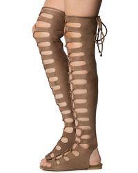 Cape Robbin Jovena-1 Gladiator Lace-up Sandal - Natural