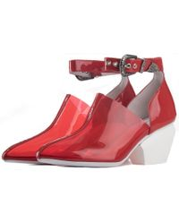 0d71a752ff27 Jeffrey Campbell - For Women  Kendall Vinyl Ankle Strap Red Western Heeled  Booties - Lyst