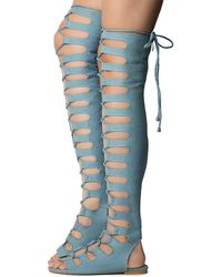 Cape Robbin Jovena-1 Gladiator Lace-up Sandal - Blue