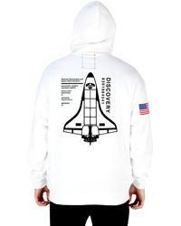 Riot Society Nasa Flag Discovery Spaceship Mens Hoodie - White