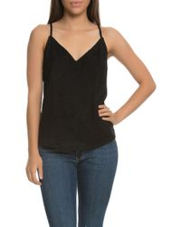 NANA JUDY The Lola Faux Suede V Neck Cami Top With Cross Over Eyelet Back - Black