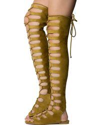 Cape Robbin Jovena-1 Gladiator Lace-up Sandal - Yellow