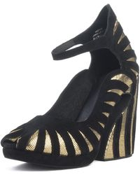 d291ed35984 Jeffrey Campbell - For Women  Hecate Gold Platform Wedges - Lyst