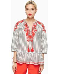 Kate Spade - Stripe Embroidered Top - Lyst