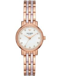 Kate Spade Women's Mini Monterey Rose Gold-tone Stainless Steel And Blush Pink Acetate Bracelet Watch 24mm