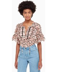Kate Spade - Floral Mosaic Chiffon Top - Lyst