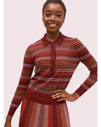 Kate Spade Metallic Stripe Polo Jumper - Red