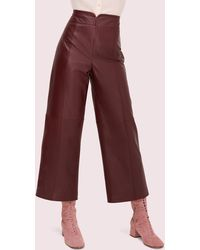 Kate Spade Cropped Leather Pant - Red